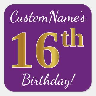 Purple, Faux Gold 16th Birthday + Custom Name Square Sticker