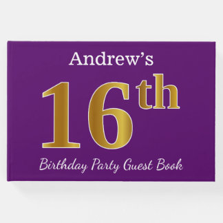 Purple, Faux Gold 16th Birthday Party; Custom Name Guest Book