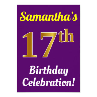 Purple, Faux Gold 17th Birthday Celebration + Name Card