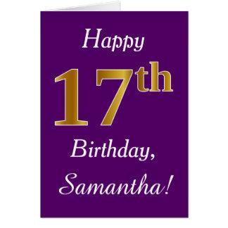 Purple, Faux Gold 17th Birthday + Custom Name Card