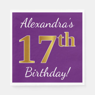 Purple, Faux Gold 17th Birthday + Custom Name Disposable Napkins