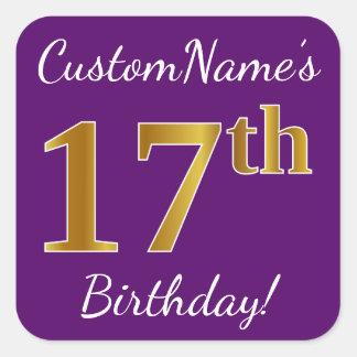 Purple, Faux Gold 17th Birthday + Custom Name Square Sticker