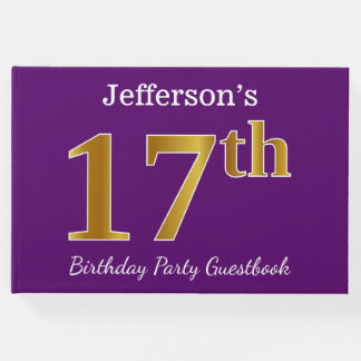 Purple, Faux Gold 17th Birthday Party; Custom Name Guest Book