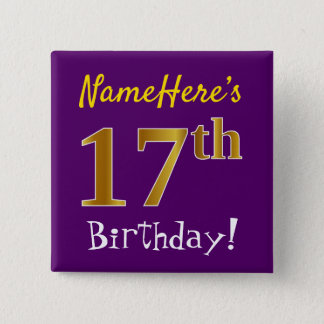 Purple, Faux Gold 17th Birthday, With Custom Name 15 Cm Square Badge