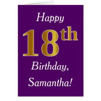 Purple, Faux Gold 18th Birthday + Custom Name Card