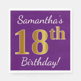 Purple, Faux Gold 18th Birthday + Custom Name Paper Napkin