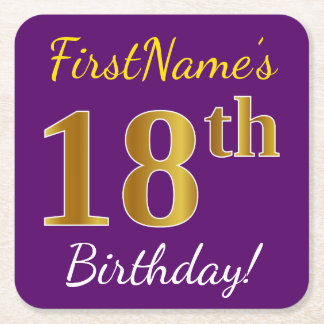 Purple, Faux Gold 18th Birthday + Custom Name Square Paper Coaster