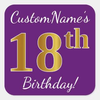Purple, Faux Gold 18th Birthday + Custom Name Square Sticker