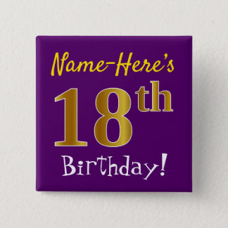 Purple, Faux Gold 18th Birthday, With Custom Name 15 Cm Square Badge