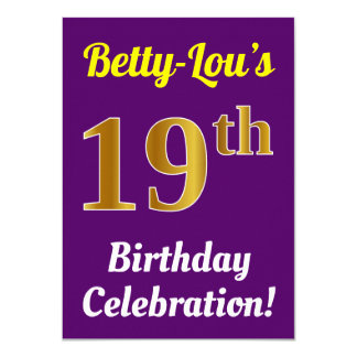 Purple, Faux Gold 19th Birthday Celebration + Name Card