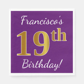 Purple, Faux Gold 19th Birthday + Custom Name Disposable Napkins