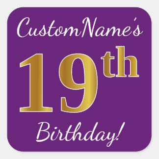 Purple, Faux Gold 19th Birthday + Custom Name Square Sticker