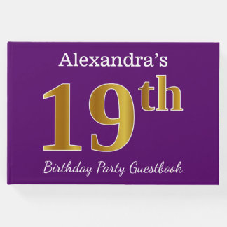 Purple, Faux Gold 19th Birthday Party; Custom Name Guest Book