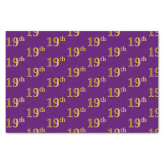 Purple, Faux Gold 19th (Nineteenth) Event Tissue Paper