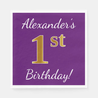 Purple, Faux Gold 1st Birthday + Custom Name Disposable Serviette