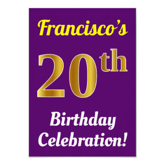 Purple, Faux Gold 20th Birthday Celebration + Name Card