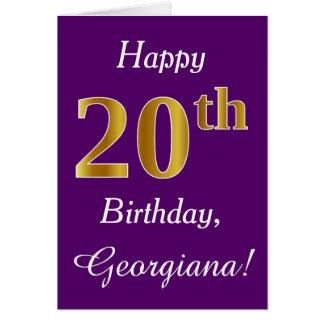 Purple, Faux Gold 20th Birthday + Custom Name Card