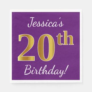 Purple, Faux Gold 20th Birthday + Custom Name Disposable Napkin