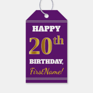 Purple, Faux Gold 20th Birthday + Custom Name Gift Tags