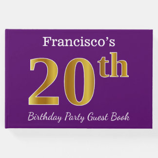 Purple, Faux Gold 20th Birthday Party; Custom Name Guest Book