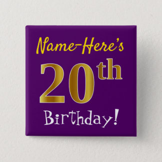 Purple, Faux Gold 20th Birthday, With Custom Name 15 Cm Square Badge