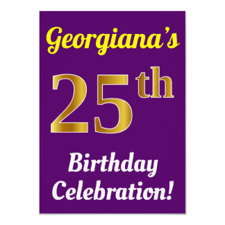 Purple, Faux Gold 25th Birthday Celebration + Name Card