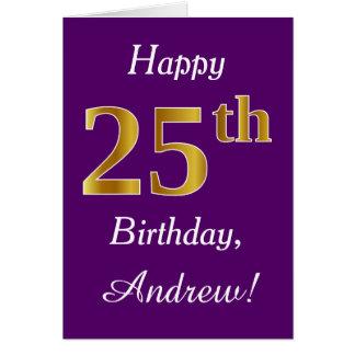 Purple, Faux Gold 25th Birthday + Custom Name Card