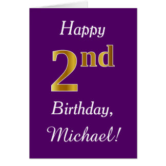 Purple, Faux Gold 2nd Birthday + Custom Name Card
