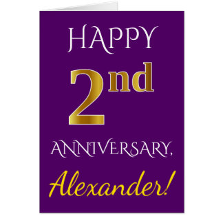 Purple, Faux Gold 2nd Wedding Anniversary + Name Card