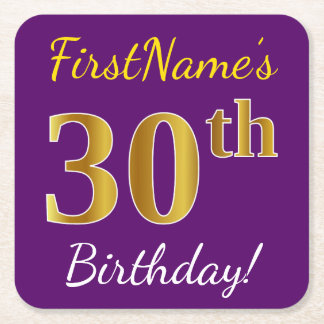 Purple, Faux Gold 30th Birthday + Custom Name Square Paper Coaster
