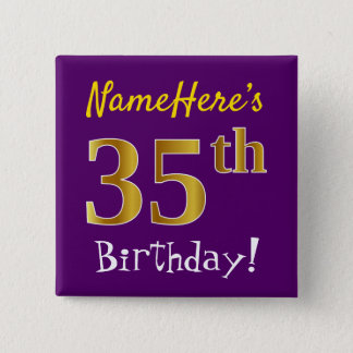 Purple, Faux Gold 35th Birthday, With Custom Name 15 Cm Square Badge