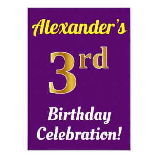 Purple, Faux Gold 3rd Birthday Celebration + Name Card