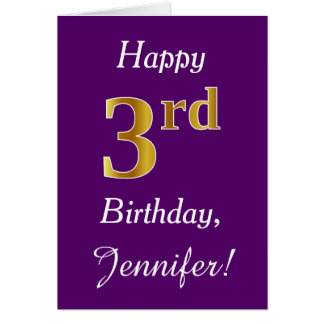 Purple, Faux Gold 3rd Birthday + Custom Name Card