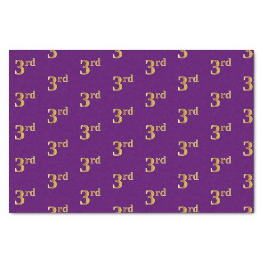 Purple, Faux Gold 3rd (Third) Event Tissue Paper