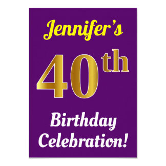 Purple, Faux Gold 40th Birthday Celebration + Name Card