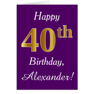 Purple, Faux Gold 40th Birthday + Custom Name Card