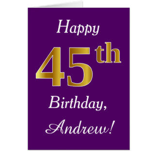 Purple, Faux Gold 45th Birthday + Custom Name Card