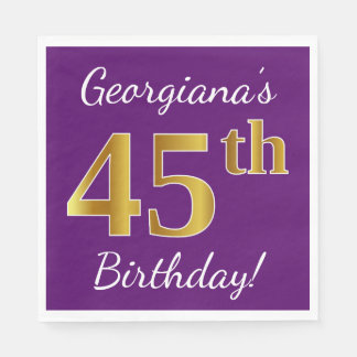 Purple, Faux Gold 45th Birthday + Custom Name Disposable Serviettes