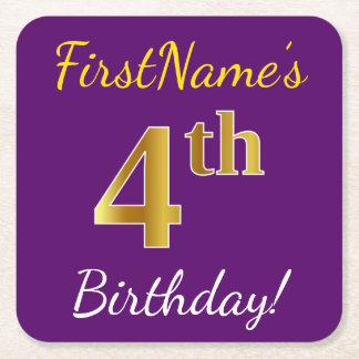 Purple, Faux Gold 4th Birthday + Custom Name Square Paper Coaster