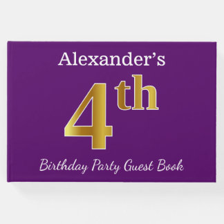 Purple, Faux Gold 4th Birthday Party + Custom Name Guest Book