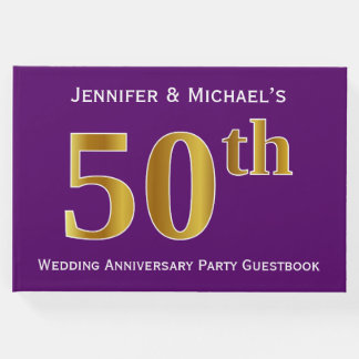Purple, Faux Gold 50th Wedding Anniversary Party