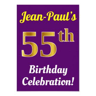 Purple, Faux Gold 55th Birthday Celebration + Name Card