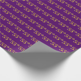 Purple, Faux Gold 55th (Fifty-Fifth) Event Wrapping Paper