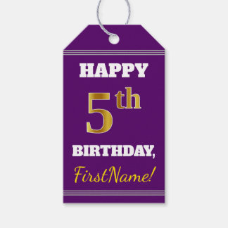 Purple, Faux Gold 5th Birthday + Custom Name Gift Tags