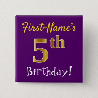 Purple, Faux Gold 5th Birthday, With Custom Name 15 Cm Square Badge