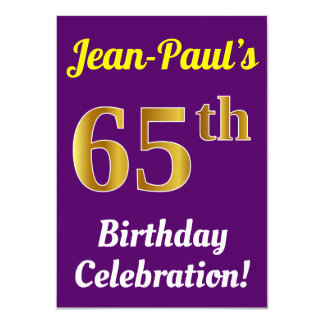 Purple, Faux Gold 65th Birthday Celebration + Name Card
