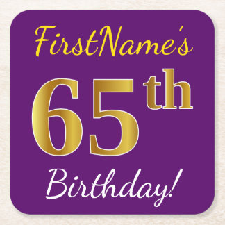 Purple, Faux Gold 65th Birthday + Custom Name Square Paper Coaster