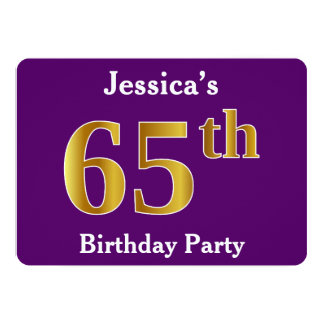 Purple, Faux Gold 65th Birthday Party; Custom Name Card