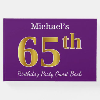 Purple, Faux Gold 65th Birthday Party; Custom Name Guest Book
