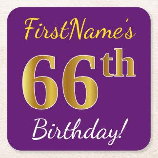 Purple, Faux Gold 66th Birthday + Custom Name Square Paper Coaster